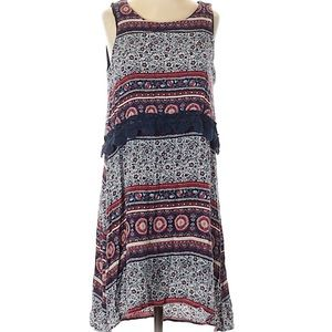 ✨Alya red blue patterned tank dress small